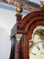 19th Cent Mahogany Moon Dial Longcase Grandfather Clock (3 of 5)