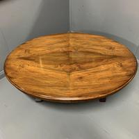 Large oval walnut coffee table with trestle base (2 of 6)