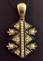 Victorian Blue Enamel & Split Pearl Pendant, 9ct Gold (6 of 12)