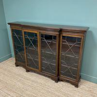 Edwardian Walnut Break Fronted Antique Bookcase (3 of 7)