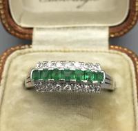 Platinum Set Emeralds & Diamonds Ring