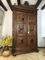 Antique French Carved Breton Armoire Housekeepers Cupboard 2 Door Wardrobe
