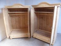 Pair of Antique Pine Arch Top 1 Panel Knockdown Wardrobes to wax / paint (10 of 12)