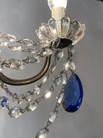 Vintage French Chandelier 4 Arm Crystal Ceiling Light with Sapphire Blue Glass (10 of 13)