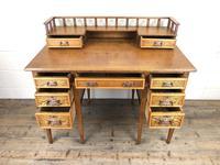 Edwardian Antique Oak Kneehole Desk (10 of 13)