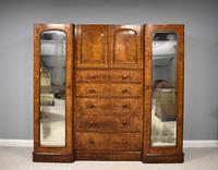 19th Century Victorian Inverted Breakfront Burr Walnut Wardrobe (5 of 10)