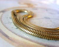 Antique Pocket Watch Chain 1930s Very Long Brass Snake Link Albert With T Bar (6 of 12)