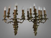Pair of Stunning Huge 7 Arm French Rococo Style Gilt Bronze Wall Lights Sconces (2 of 9)