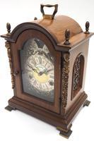 Fine Dutch Walnut Mantel Clock 8 Day Miniature Bracket Clock with Moon Roller (5 of 9)