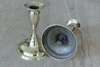 Fine Pair of 19th Century English Brass Candlesticks 18th Century Style (2 of 6)