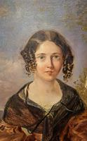 Victorian Oil Painting - Portrait of a Lady with Wringlets (3 of 9)