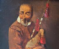 Original 18th Century Miniature Oil on Panel Portrait Painting of Bagpipe Player (5 of 11)