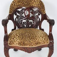 Mid-19th Century French Carved Walnut Desk Chair (2 of 12)