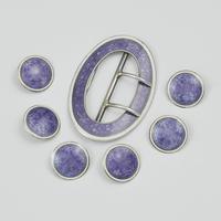 Fine Edwardian Silver & Lilac Guilloche Enamel Buckle & 6 Dress Studs (3 of 8)