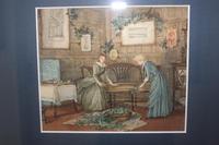 Antique Original Watercolour - Twin Interior Scenes - Mary Sophia Godlee 1860-1932 (3 of 5)