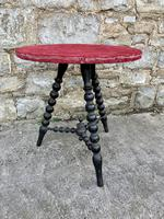 19th Century Gypsy Bobbin Table With Red Felt Top (3 of 5)
