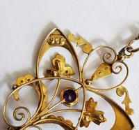 Victorian Art Nouveau 9ct Gold Pendant (4 of 9)