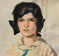 Original Antique Watercolour Portrait Painting of a Girl Guide c.1919 (5 of 9)