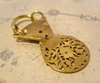 Georgian Pocket Watch Chain Fob 1830s Antique Large Brass Verge Balance Cock Fob (8 of 9)