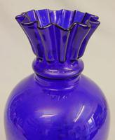 Antique Bristol Blue Glass Shaped Vase (3 of 5)