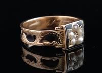 Antique mourning ring, 15ct gold, black enamel, pearl and diamond (5 of 12)