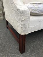 English Upholstered Camel Back Sofa (4 of 8)