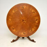Antique Italian Marquetry Top Walnut Dining Table (3 of 10)