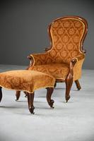 Antique Victorian Mahogany Armchair & Footstool (6 of 12)