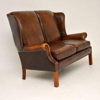 Georgian Style Leather Wing Back Sofa c.1960 (9 of 12)