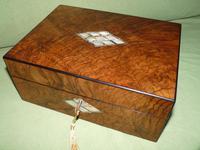 QUALITY Inlaid Figured Walnut Jewellery Box + Tray c.1870 (12 of 14)