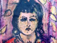 Mixed Media Girl in the Window Artist Claude Rowbothan 1955 (5 of 10)