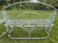 Pair of Art Deco Style Peacock Design Garden Curved Benches (29 of 35)