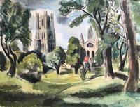Original mixed media painting 'Ely' by Toby Horne Shepherd 1909-1993. Signed c.1955