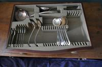 Edwardian Inlaid Mahogany Serpentine Wellington Cutlery Canteen, Francis Newton (5 of 11)