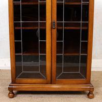 Oak Leaded Glass Bookcase (2 of 15)