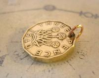 Vintage Pocket Watch Chain Fob 1940 WW2 King George V1 Threpenny Bit Coin Fob (5 of 7)