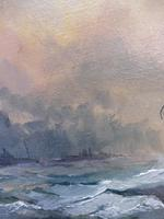 Oil on Board Battle on the Ocean Wave Listed Artist Dion Pears (4 of 12)