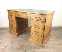 Late 20th Century Pine Pedestal Kneehole Desk (12 of 14)
