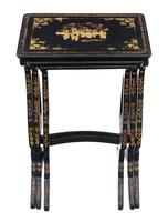 Victorian Chinoiserie Nest of Decorated Black Lacquer Tables (3 of 6)