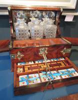Stunning Antique Burr Walnut Tantalus & Games Box