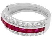 1.06ct Ruby & 0.89ct Diamond, Platinum Ring - Antique c.1890 (3 of 9)