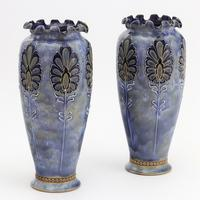 Pair of Royal Doulton Stoneware Art Nouveau Vases by Eliza Simmance c1903 (3 of 11)