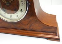 Walnut Hat-Shaped English  8-Day Mantel Clock with Silver & Walnut Dial (6 of 8)