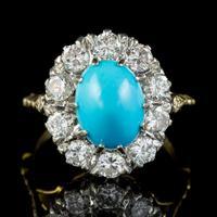 Antique Edwardian Turquoise Diamond Cluster Ring Platinum 18ct Gold 2ct of Diamond c.1905 (8 of 8)
