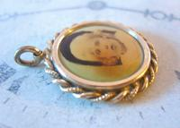 Edwardian Pocket Watch Chain Photograph Fob 1900s Antique Gilt Sepia Fob (5 of 8)