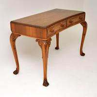 Antique Burr Walnut Queen Anne Style Console Server Table (4 of 10)