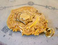 Antique Pocket Watch Chain Fob 1890s Victorian 18ct Gold Filled Large Shield Fob (5 of 6)