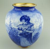 A Royal Doulton Art Pottery Flow Blue Blue Children Vase C.1912-30 (2 of 5)