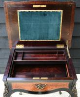 Fine Quality 19th Century French Ebonised & Amboyna Serpentine Sewing Table (8 of 22)