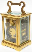 Antique French 8-Day Repeat Carriage Clock Bevelled Case with Enamel Dial  Gong Striking (2 of 5)